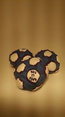 NutSack 26  panel sand-filled microsuede hacky sack footbag white\blue\yellow