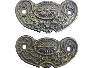 Two Antique Brass Ornate Decorative Drawer Pull Back Plates