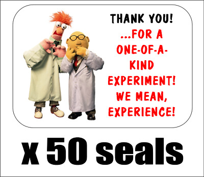 "50 Beaker and Bunsen Honeydew Thank You  Seals / Labels / Stickers, 1"" x 1.5"""