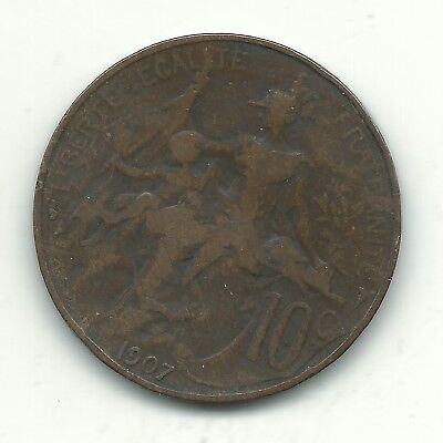 A Vintage Very Nice 1907 France French 10 Centimes Coin-Oct476
