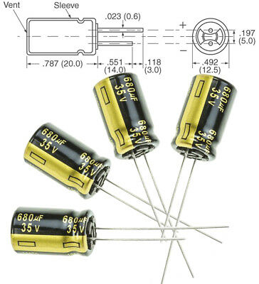 4x Panasonic FM 680uF 35v Low-ESR radial capacitors caps 105C 12.5mm 12.5x25