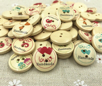 50pcs Round Buttons Wooden Love printing Sewing Crafts Scrapbooking 20mm