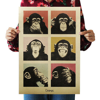 Animal Vintage Retro Poster Gorilla Chimps Kraft Paper For Home Bar Wall Decor