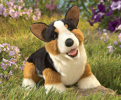 FOLKMANIS Hand PUPPET Soft Plush Toy TRI-COLOR CORGI Stuffed Animal PEMBROKE DOG