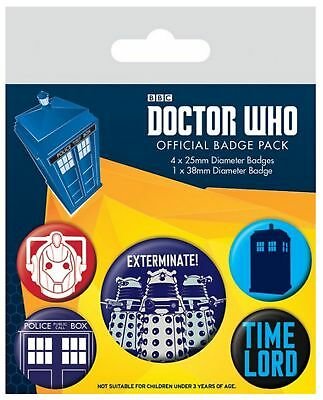 Doctor Who Badge Pack time lord daleks Exterminate new Official 5 X button