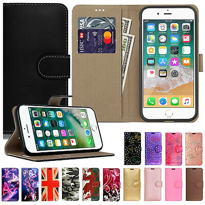 For iPhone 7 8 6s X XS Magnetic Flip Leather Black Case Wallet Stand Slim Cover