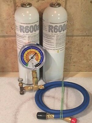 R600a, R-600a, Refrigerant Isobutane, 2 Cans, R600 Gauge Taper & Charging Hose