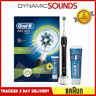 BRAUN ORAL B PRO 650 Black Electric Toothbrush 3d Action White + Toothpaste
