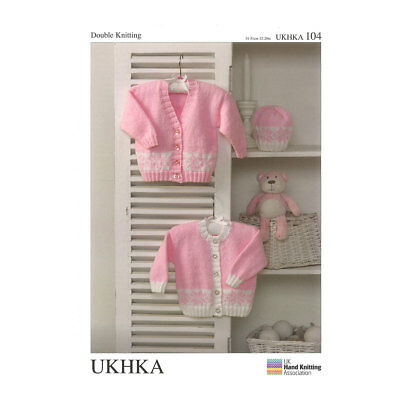 UKHKA Cardigans and Hat Pattern | Double Knitting | Prem-12 Months | UKHKA/104