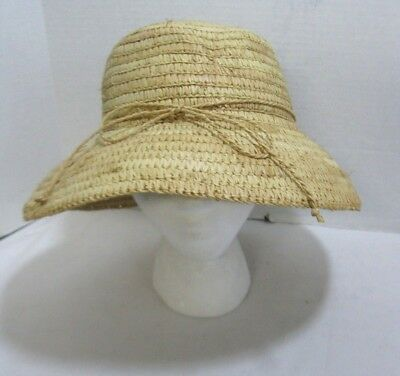 99ea2a59c0c51 Sewn Braid Straw Bucket Sun Hat Women s With Straw Bow Beach Cruise  Poolside NEW