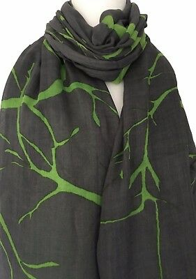 Grey Scarf Green Abstract Tree Print Wrap Ladies Gray Trees Print Shawl