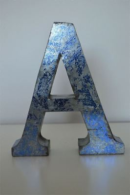 Medium Vintage Style 3D Blue A Shop Sign Letter Tin Wall Art Letter Font