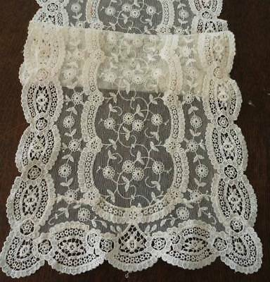 Vintage Embroidered French Net Lace Table Runner Schiffli Edge Ecru 45""