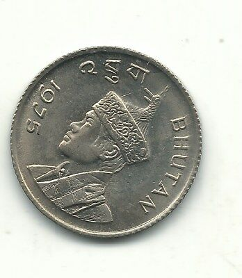 A High Grade Bu 1975 Bhutan 25 Chetrums Coin-Oct483