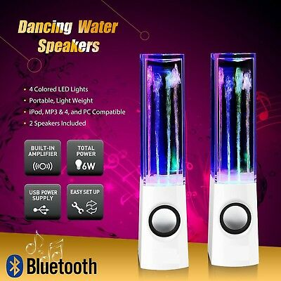 LED Dancing Water Fountain Light Wireless Bluetooth Stereo Speakers for Phone PC