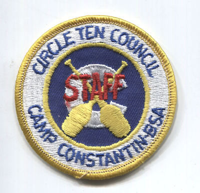 BSA Circle 10 Council Camp Constantin STAFF scout patch - yellow border -undated