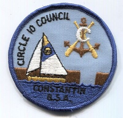 BSA Circle 10 Council Camp Constantin camper scout patch - undated - blue border
