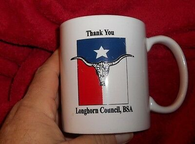 BSA Boy Scouts of America White Coffee Cup Mug LONGHORN Council Logo Thank You
