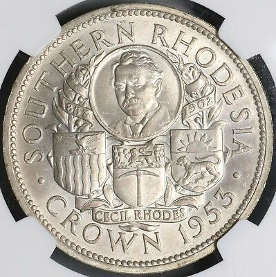 1953 NGC MS 63 SOUTHERN RHODESIA Silver Crown Rhodes Comm Coin (17062902C)