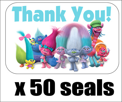 "50 Trolls Thank You Envelope Seals / Labels / Stickers, 1"" x 1.5"""