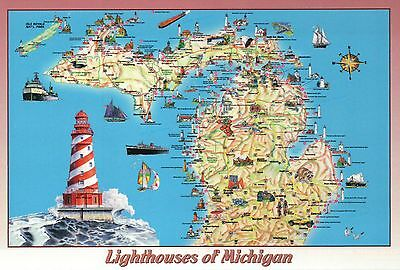 Lighthouses of Michigan, Great Lakes, Ships etc. - State Map Lighthouse Postcard