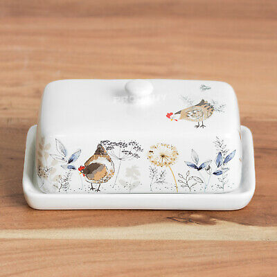 Butter Dish with Lid Ceramic Farmyard Animals Farm Dining Table Serving Bowl
