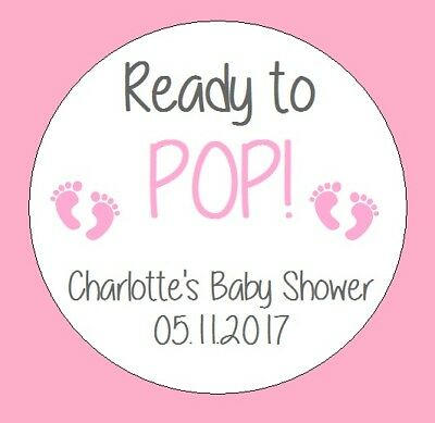 READY TO POP Baby Shower Personalised Stickers Gender Reveal Party Bag 682