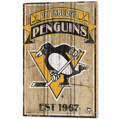 NHL Eishockey PITTSBURGH PENGUINS Wood Sign Holzschild Holz Established