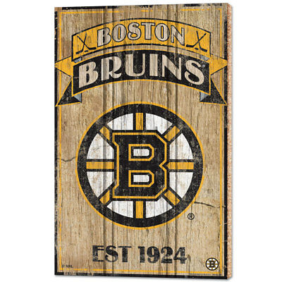 NHL Eishockey BOSTON BRUINS Wood Sign Holzschild Holz Established