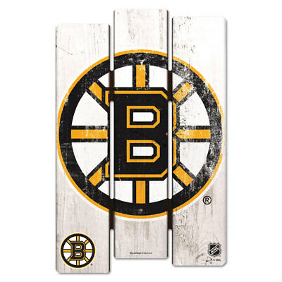 NHL Eishockey BOSTON BRUINS Wood Sign Holzschild Holz Fence