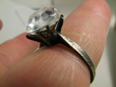 AUTHOR'S WORK ! VINTAGE STERLING SILVER RING with STONE ! 100% WEARABLE! #6894