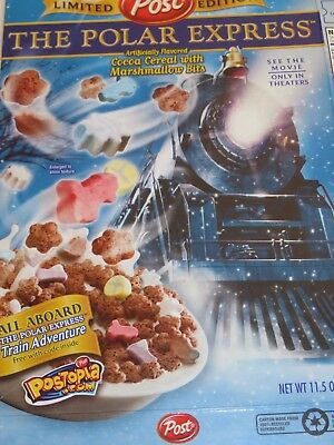 VINTAGE CEREAL BOX CHRISTMAS 2004 THE POLAR EXPRESS Post Limited Edition Blue