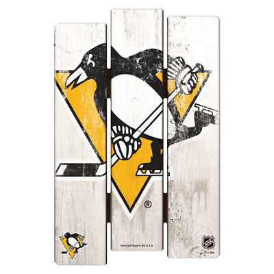 NHL Eishockey PITTSBURGH PENGUINS Wood Sign Holzschild Holz Fence