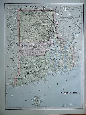Vintage 1891 ~ RHODE ISLAND ~ Map Old Antique Original Atlas Map  91/072117
