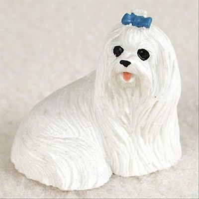 Maltese Dog Tiny One Miniature Small Hand Painted Figurine