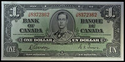 BANK OF CANADA 1937 - $1 BANK NOTE - Prefix J/M - Signed Gordon & Towers - NCC