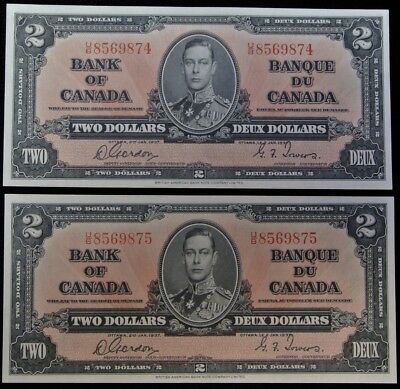 BANK OF CANADA 1937 - 2 CONSECUTIVE $2 BANK NOTES - Prefix U/B - Gordon & Towers