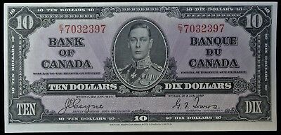 BANK OF CANADA 1937 - $10 BANK NOTE - Prefix E/T - Signed Coyne & Towers - NCC