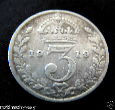 STERLING SOLID  0.925 SILVER Threepence 1919 Coin Antique II Old World War I UK