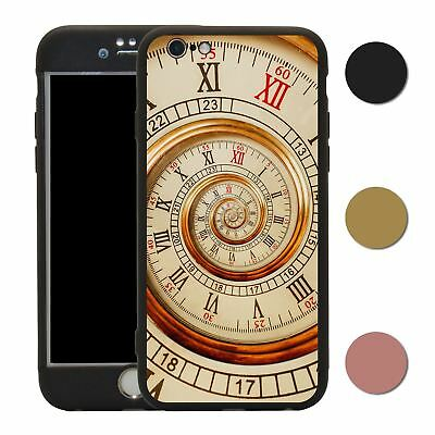 Clock 360° Case & Tempered Glass Cover For iPhone - S2586