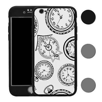 Clock 360° Case & Tempered Glass Cover For iPhone - S2574