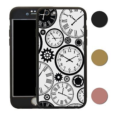 Clock 360° Case & Tempered Glass Cover For iPhone - S2575