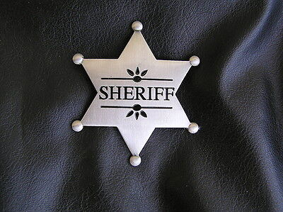 SHERIFF STAR BADGE - HIGH QUALITY Silver Plated - Marshal of the OLD WEST Cowboy