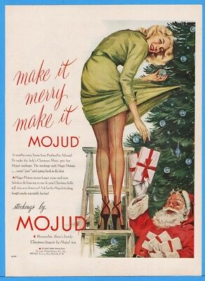1951 Mojud Stockings Woman On Ladder Santa Below Christmas Tree RACY Print Ad