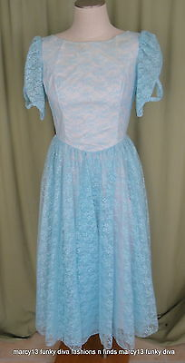 """NWT Sweet Vintage 70's Blue Lace Formal Gown Prom Bridesmaid Size 12 Bust 34"""""""