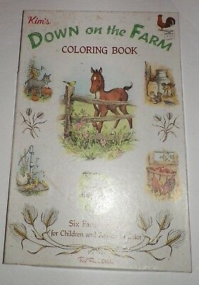 VINTAGE KIM\'S FARM SCENES Red Farm Studio Giant Coloring Book in ...
