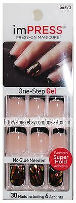 KISS imPRESS Press-On Mani TEXT APPEAL 30 SQUARE Nails BLACK FRENCH TIP 56673 1c