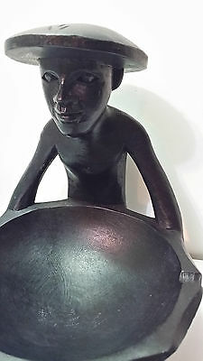 Vintage African Hand Carved Wood Figure Bowl Ashtray Change Dish. 6 Inches Tall.