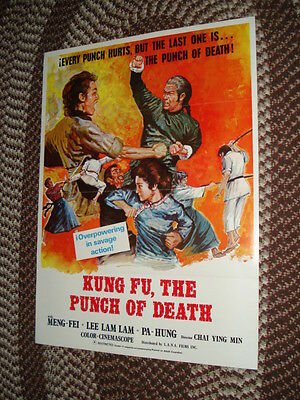 KUNG FU, THE PUNCH OF DEATH Meng-Fei Original Theatrical 1972 One-Sheet Poster!