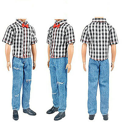 3Sets Boy Black Plaid Shirt Doll Clothes Jeans Trousers Shoes For Doll#